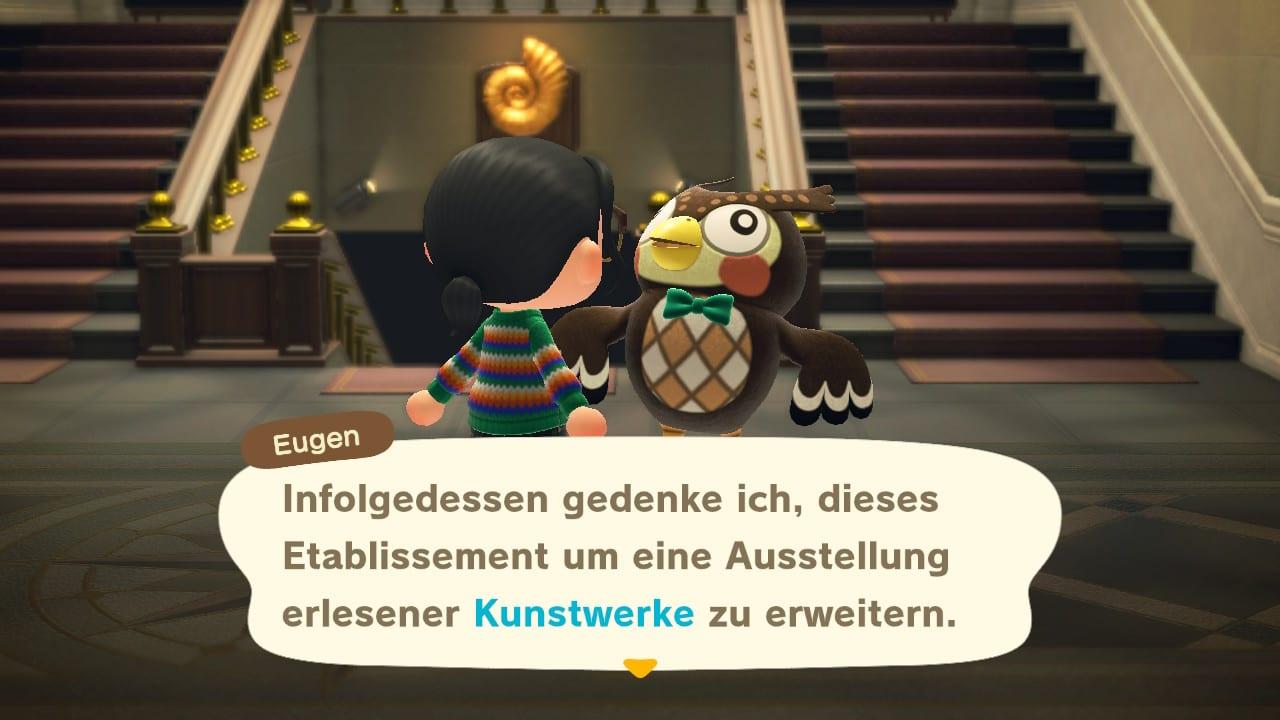 Animal Crossing: New Horizons kann durch Reiner mit einer Kunstgalerie ausgestattet werden.
