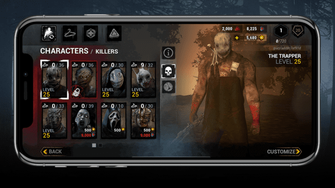 Dead by Daylight Mobile Menü der Killer.