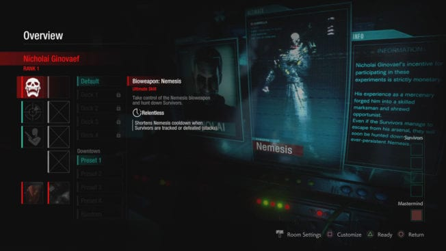 Resident Evil Resistance Mastermind Nemesis