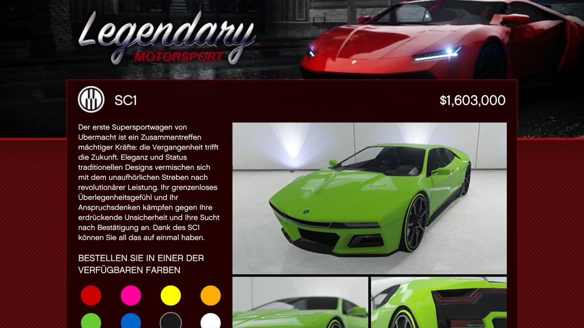 GTA Online Übermacht SC1 Supersportwagen