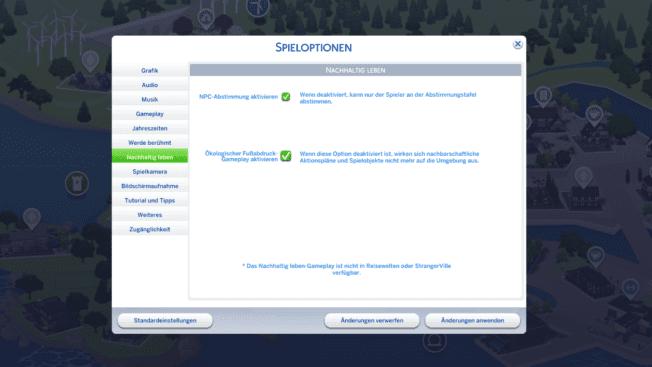 Die Sims 4 Nachhaltig leben Optionen