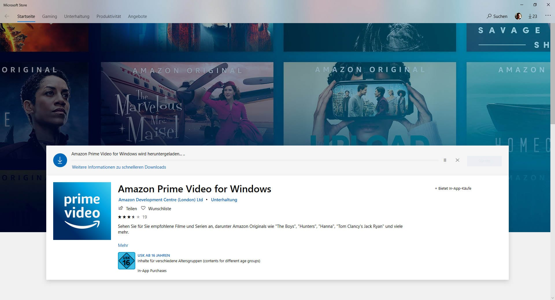 Amazon Prime Video App für PC
