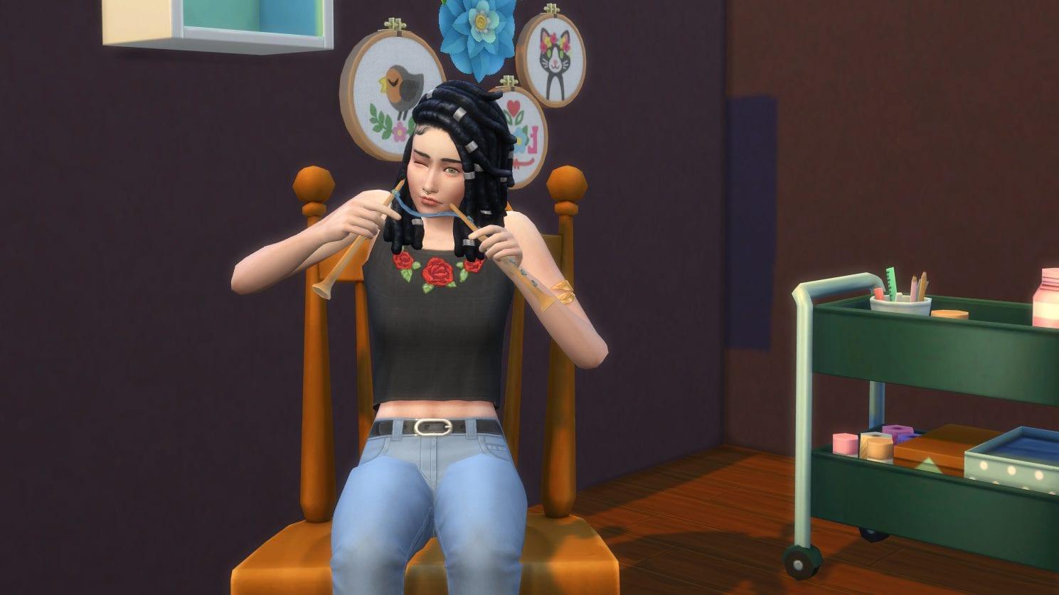 Die Sims 4 Schick mit Strick Schaukelstuhl