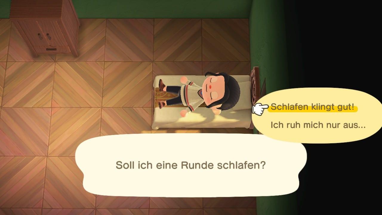 Animal Crossing: New Horizons Schlafen