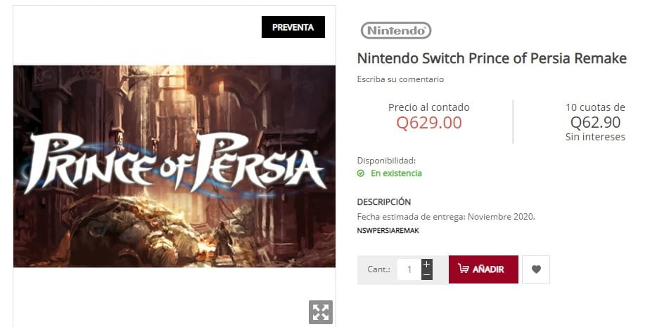 Prince of Persia Remake ps4 nintendo switch