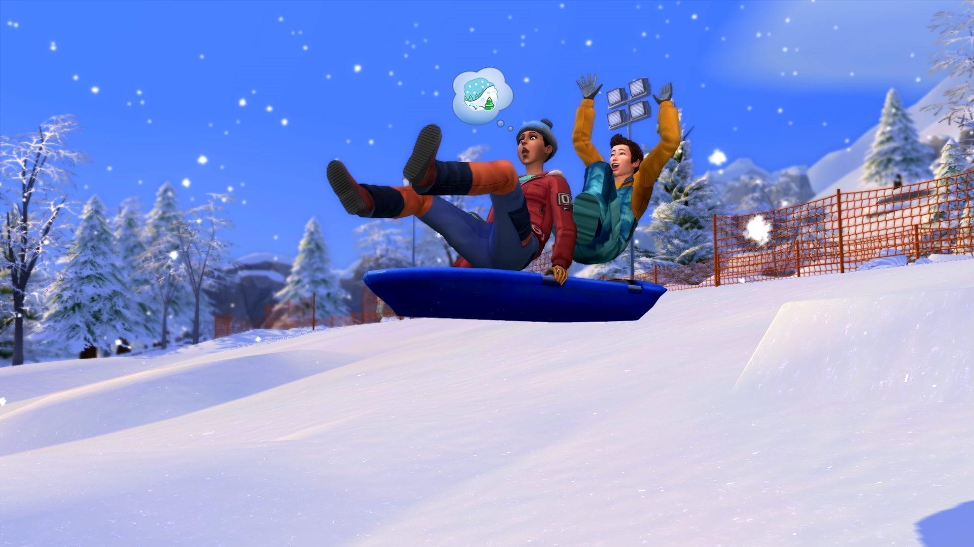 Die Sims 4 Ab ins Schneeparadies Schlitten fahren