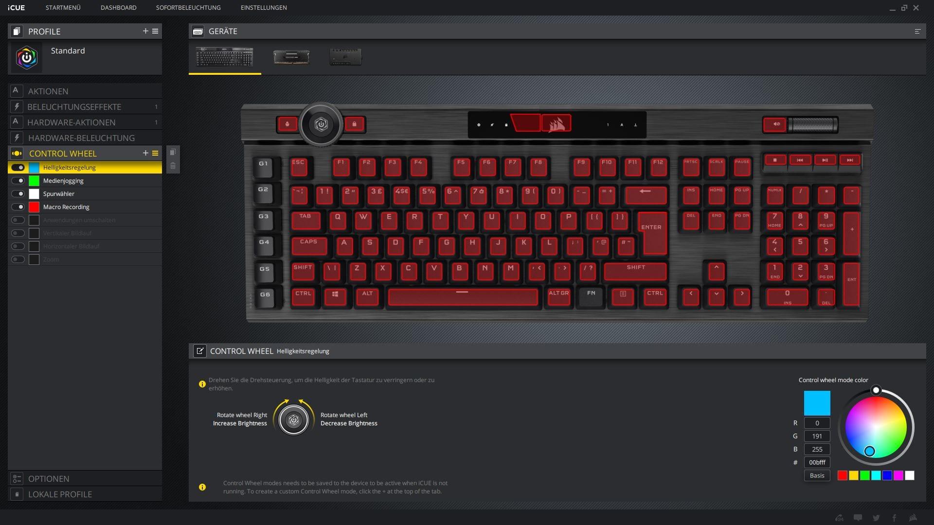 K100 RGB iCUE Kontrollrad