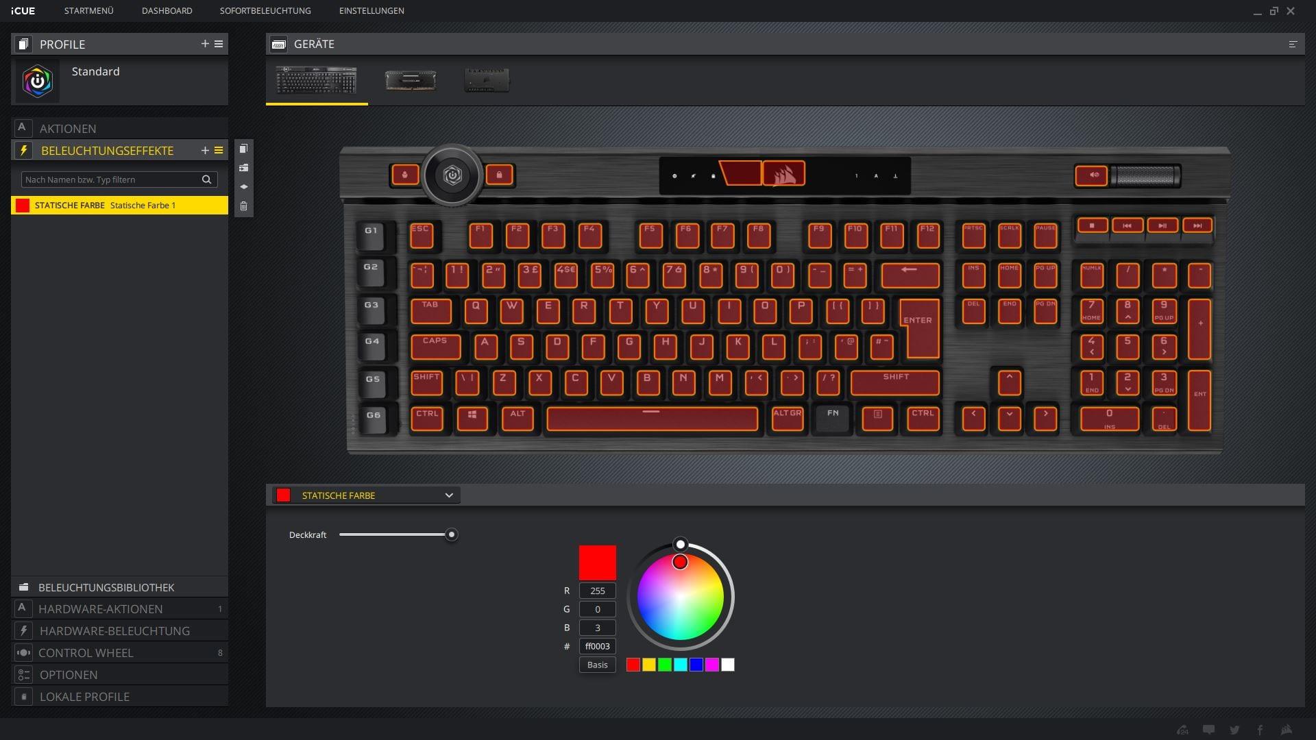 K100 RGB Corsair iCUE Beleuchtungseffekte