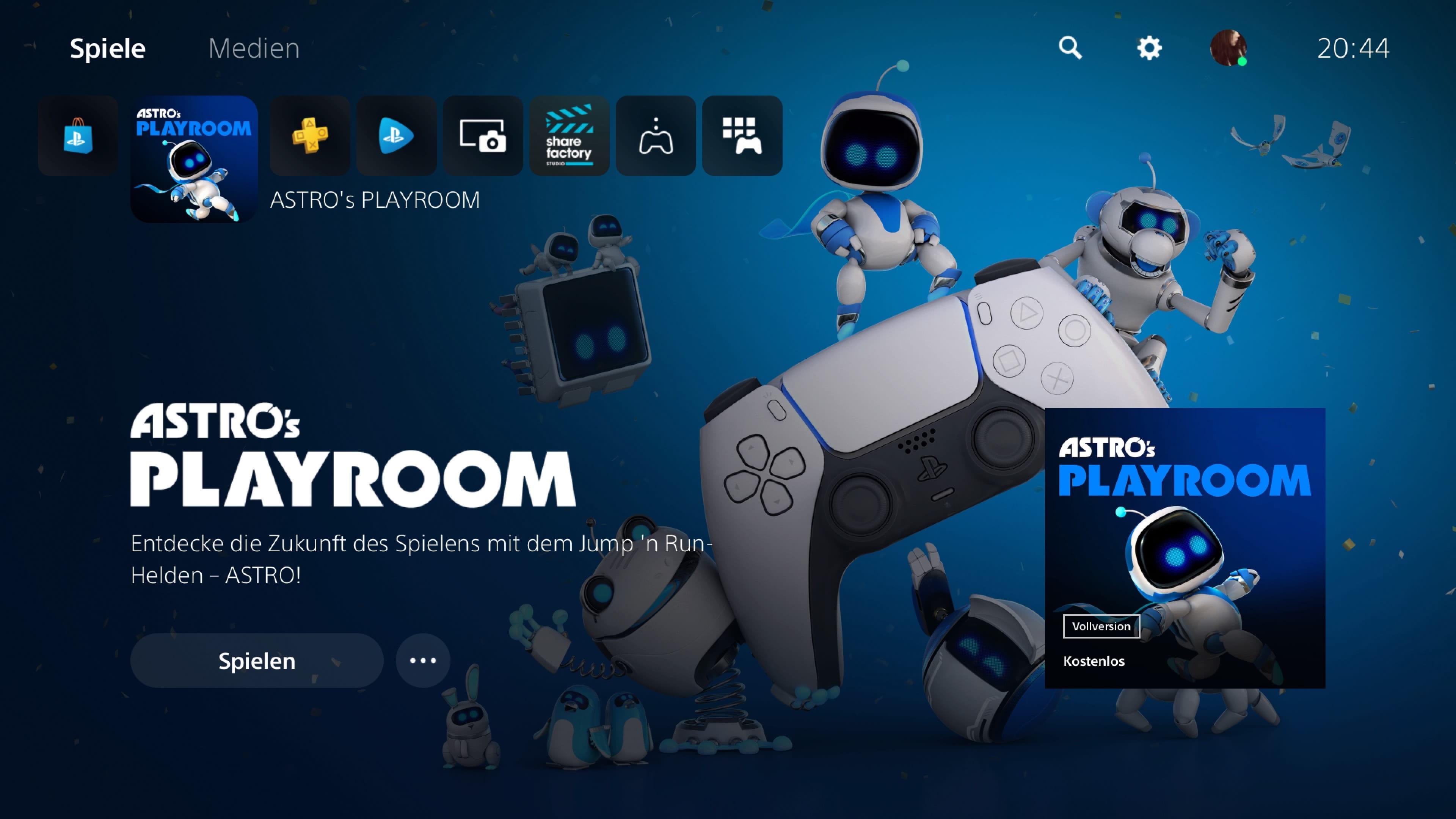 PS5 Hauptmenü Medien Spiele