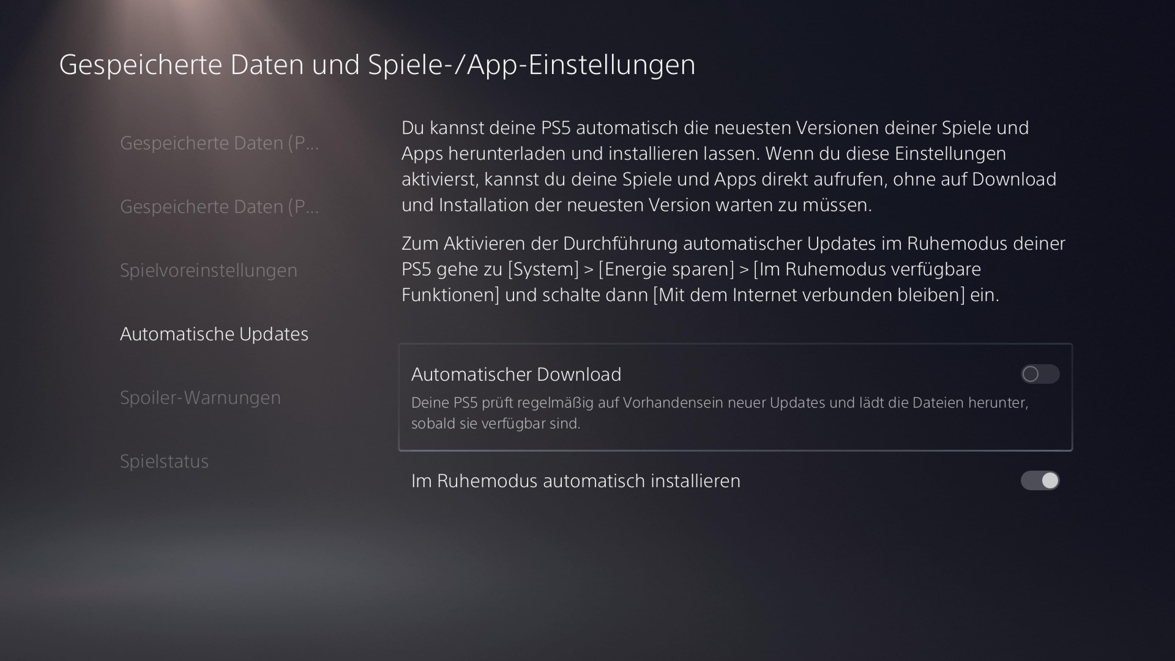 PS5 Automatische Update deaktivieren