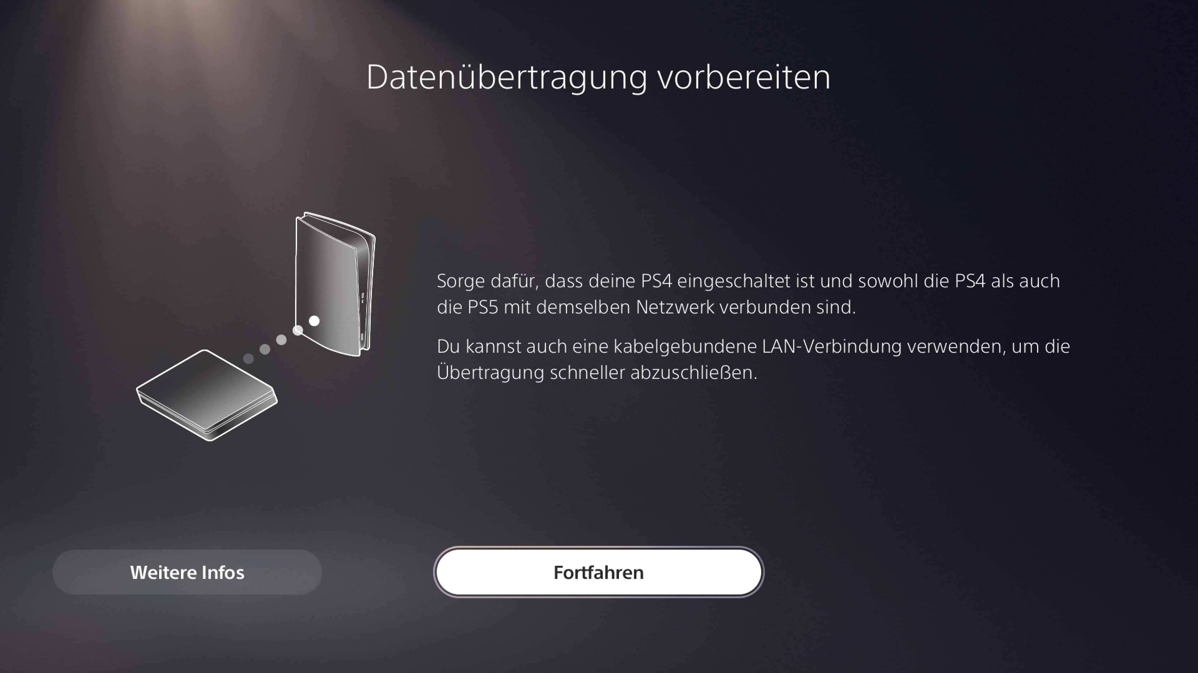 PS5 Ersteinrichtung Daten übertragen