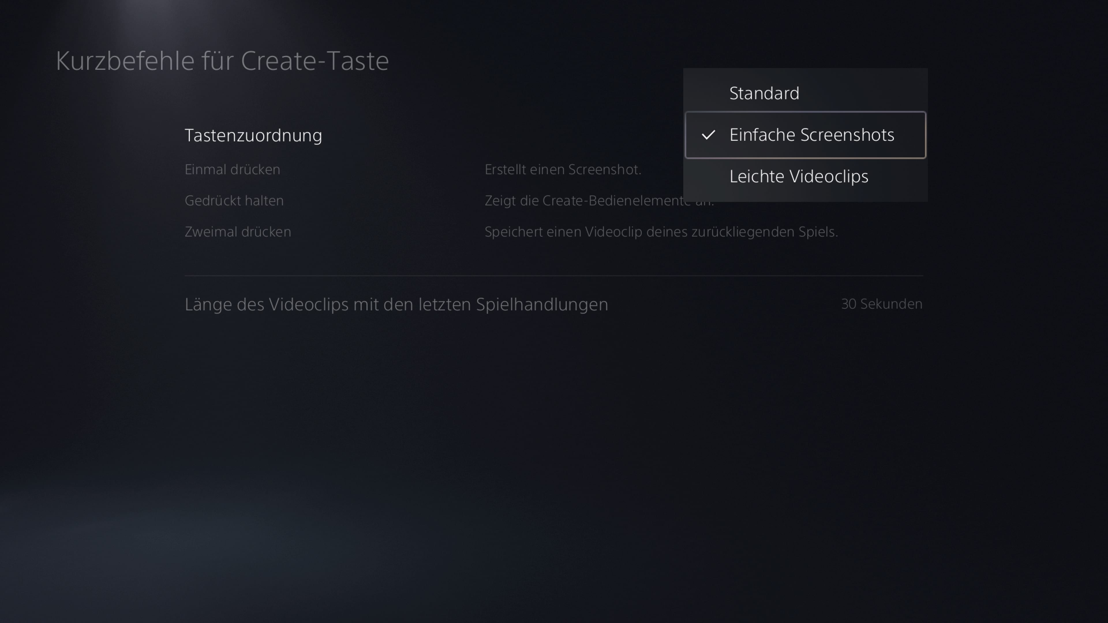 PS5 Screenshots Einstellungen Create-Taste