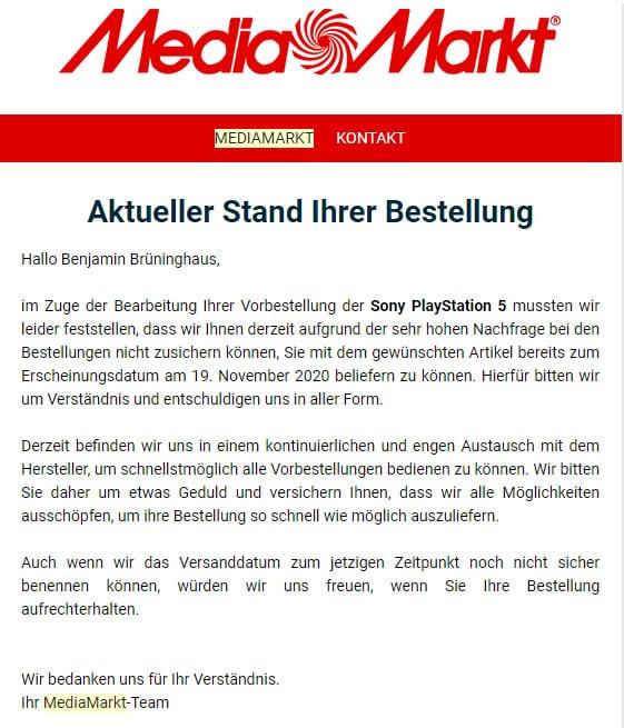 PS5 MediaMarkt Meldung an Vorbesteller