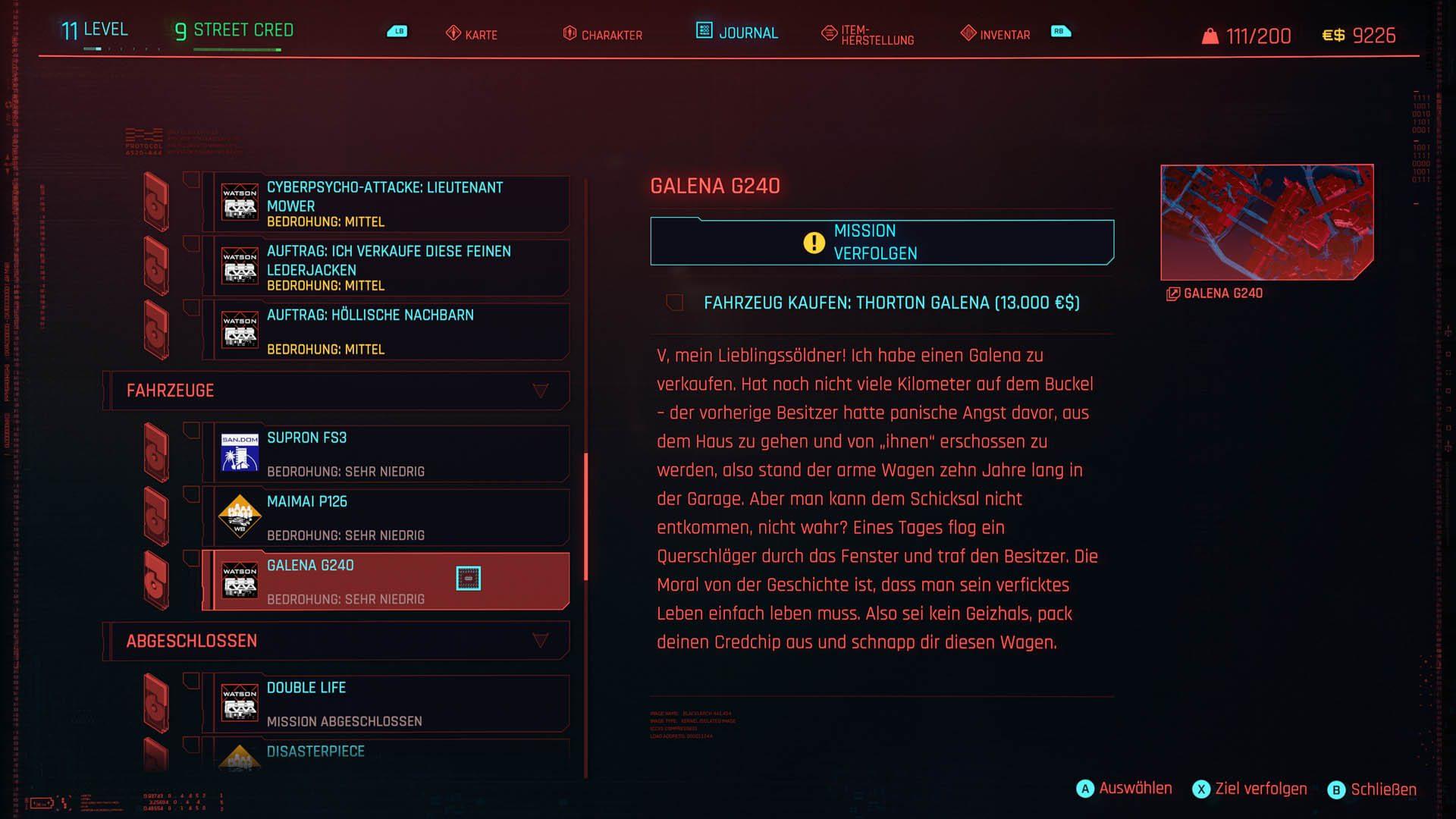 Cyberpunk 2077 - Autos kaufen und aktivieren - auswählen und verfolgen!