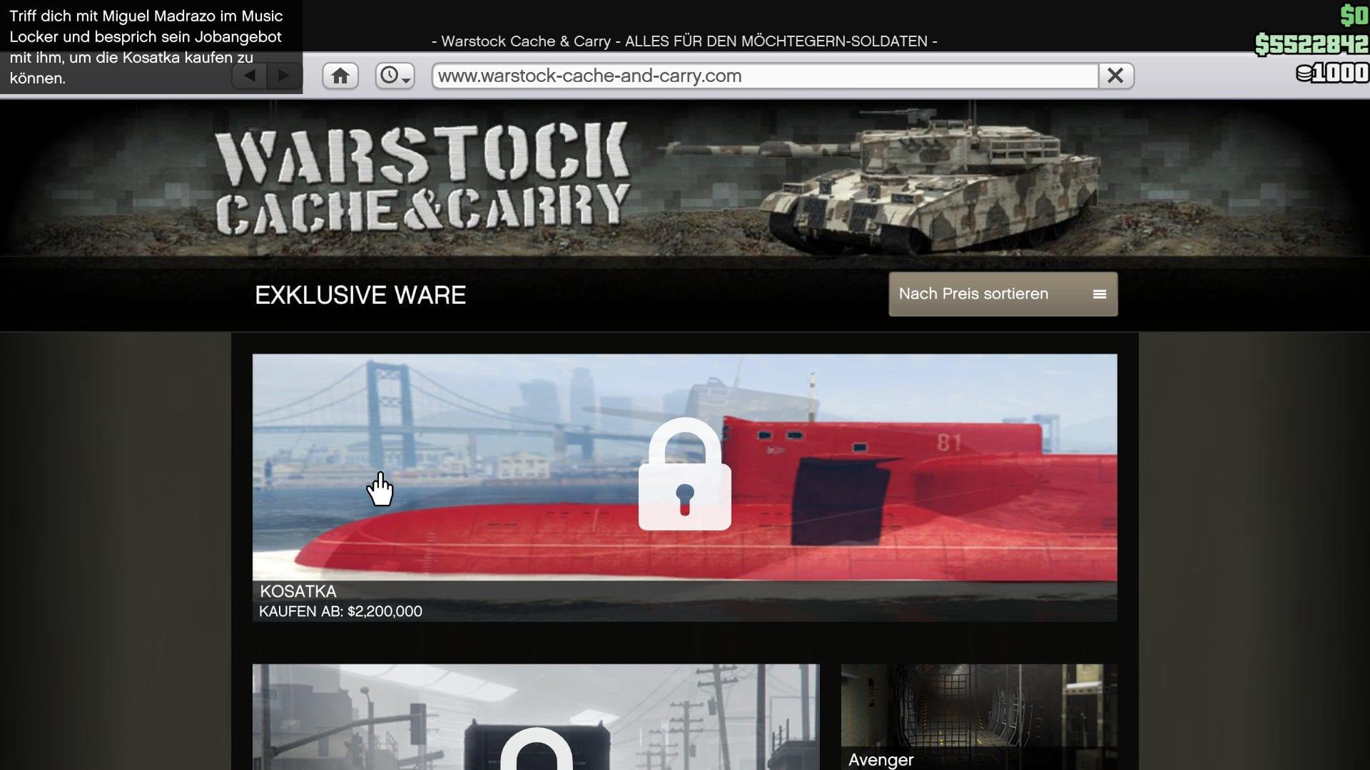 GTA Online - U-Boot Warstock
