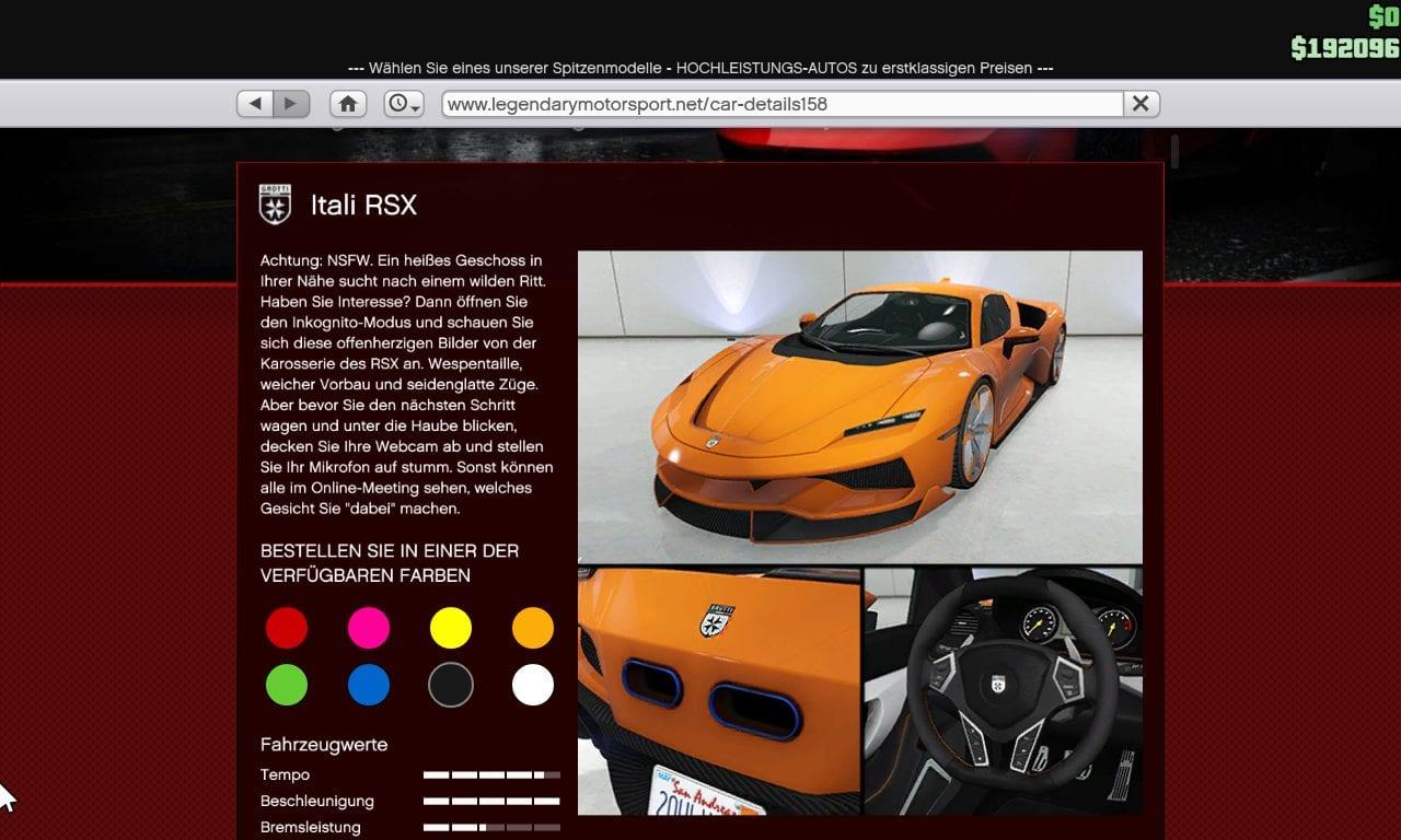 GTA Online - Grotti Itali RSX