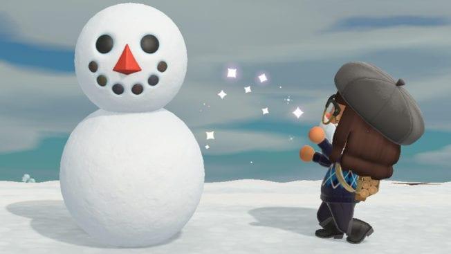 Animal Crossing New Horizons Schneemil bauen Schneemann Anleitungen Schneeflocke