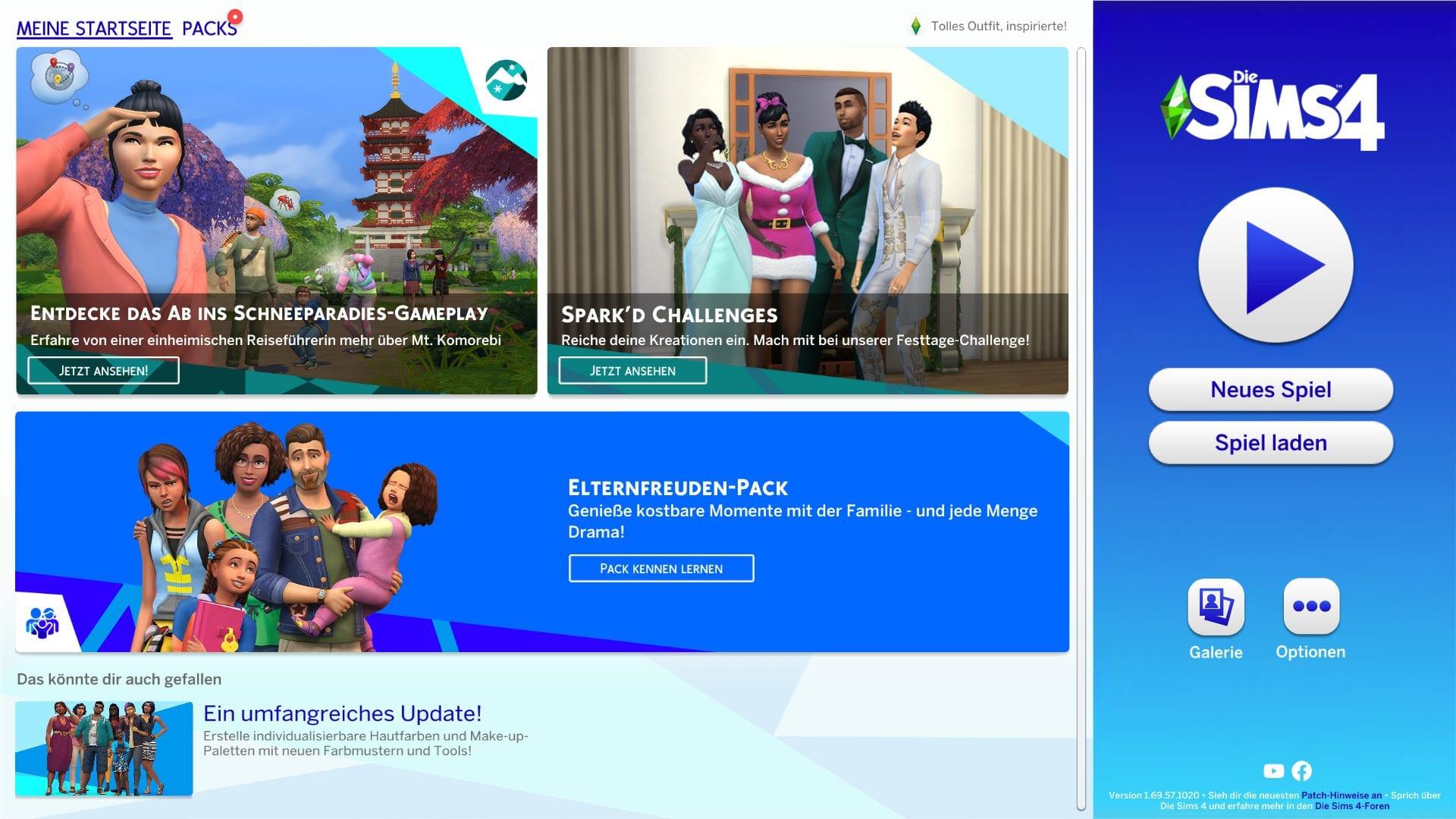Die Sims 4 Hauptmenü Update