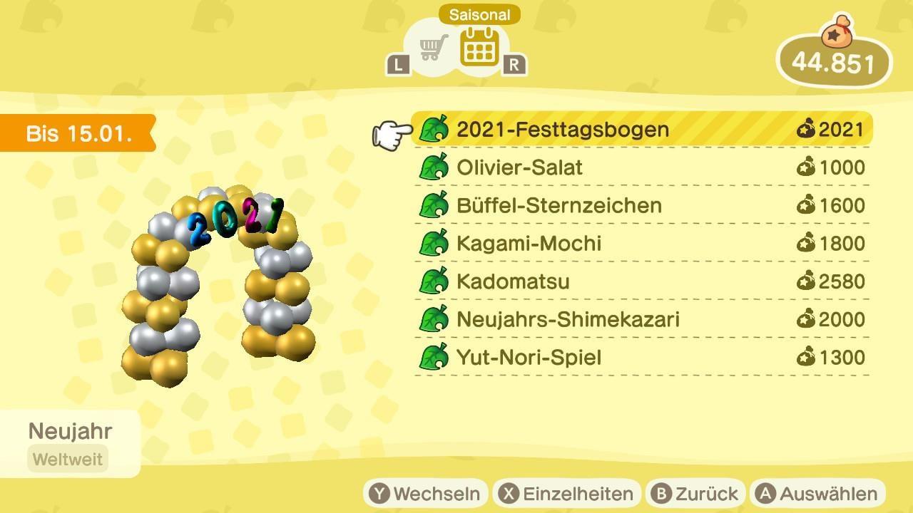Animal Crossing New Horizons Neujahr