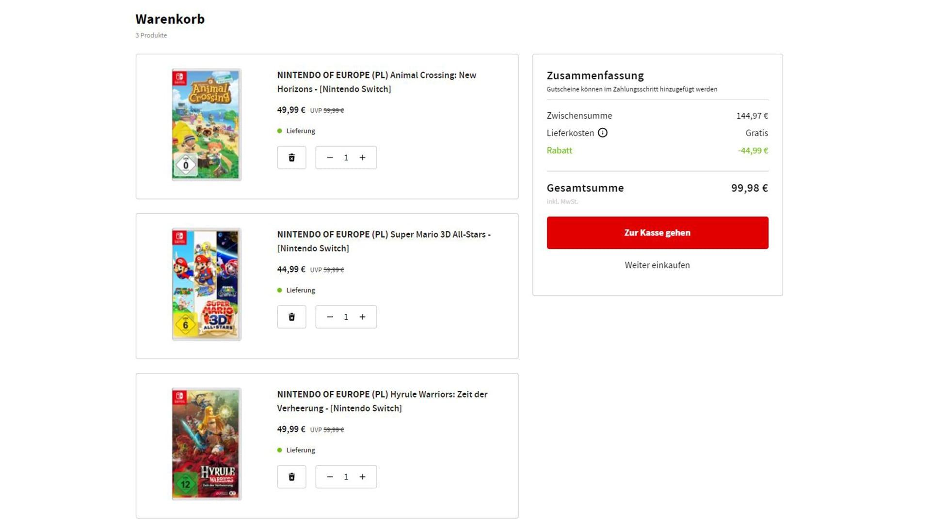 Nintendo Multibuy Aktion (3 für 2) MediaMarkt