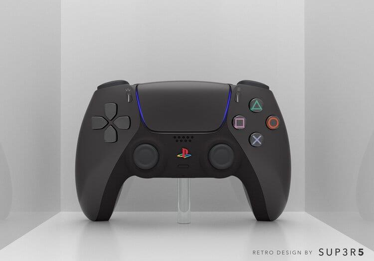 PS5 DualSense Custom Schwarz Retro