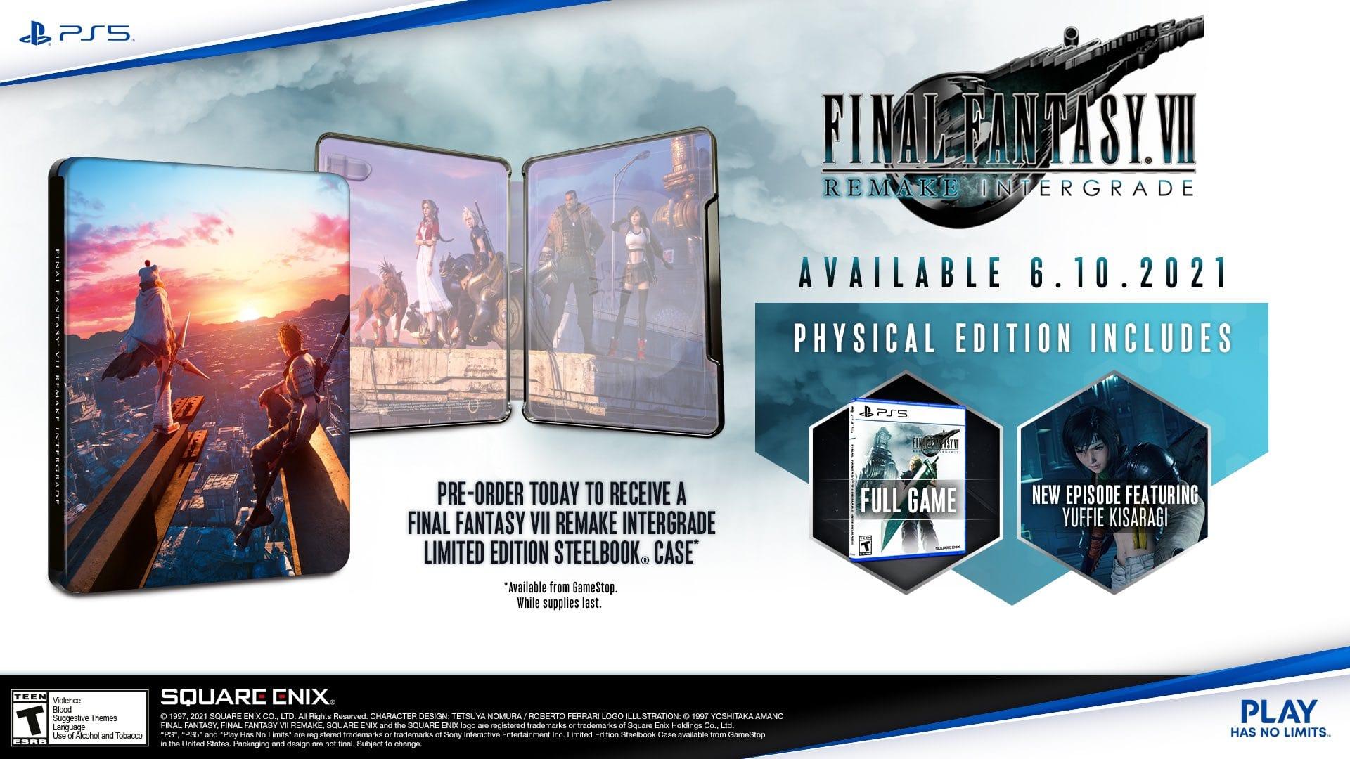 Final Fantasy 7 Remake Intergrade exklusives Steelbook Amazon