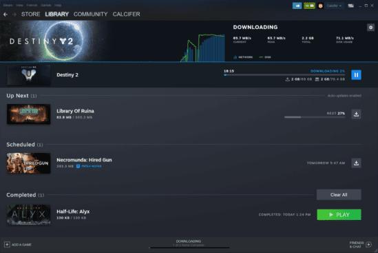 Steam Update Download Bereich