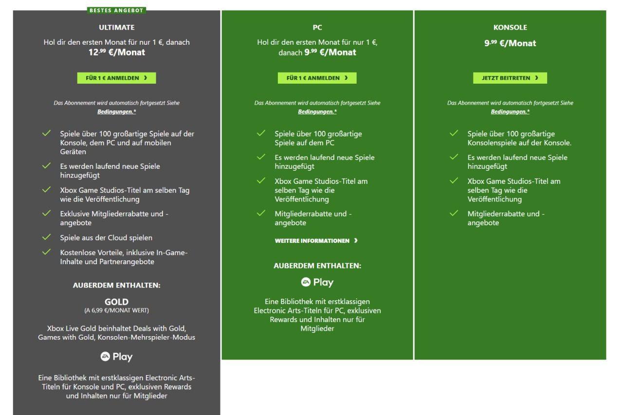 Xbox Game Pass: Varianten und Preise