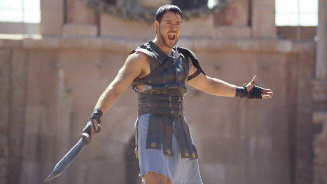 Russell Crowe in Ridley Scotts Kultfilm Gladiator, der jetzt mit Gladiator 2 ein Sequel bekommen soll.